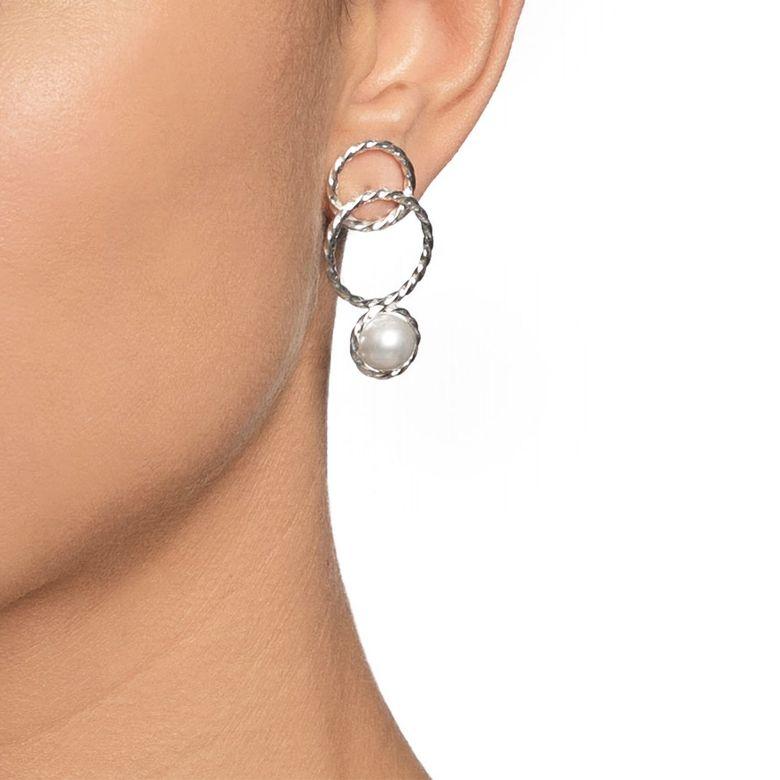 TWISTED ORBIT EARRINGS - PEARL.