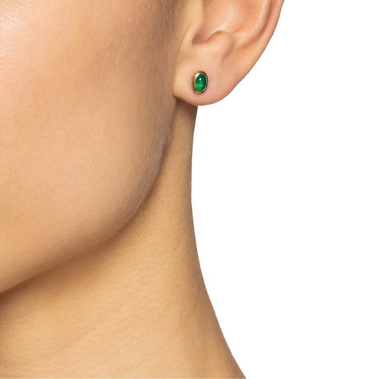 LOVE BEAD EAR - GREEN AGATE