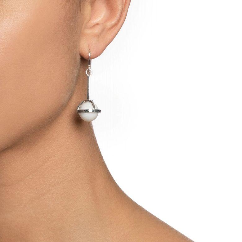 AMOR FATI GLOBE EARRINGS - WHITE AGATE