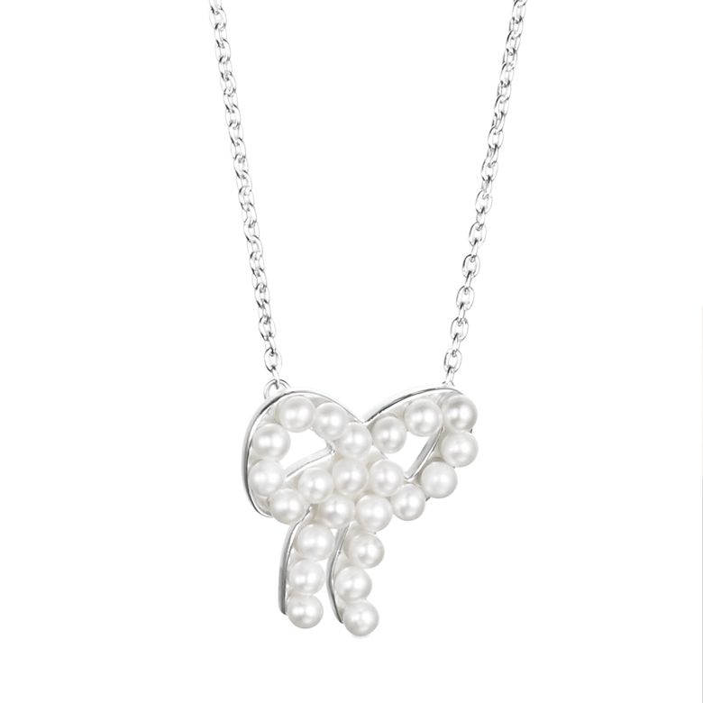 MINI PEARLS BOW NECKLACE