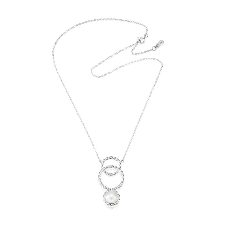 TWISTED ORBIT NECKLACE - PEARL.