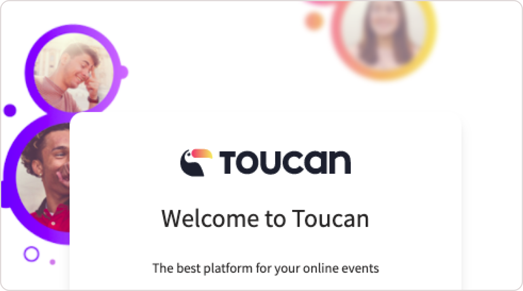 Toucan Events Login page