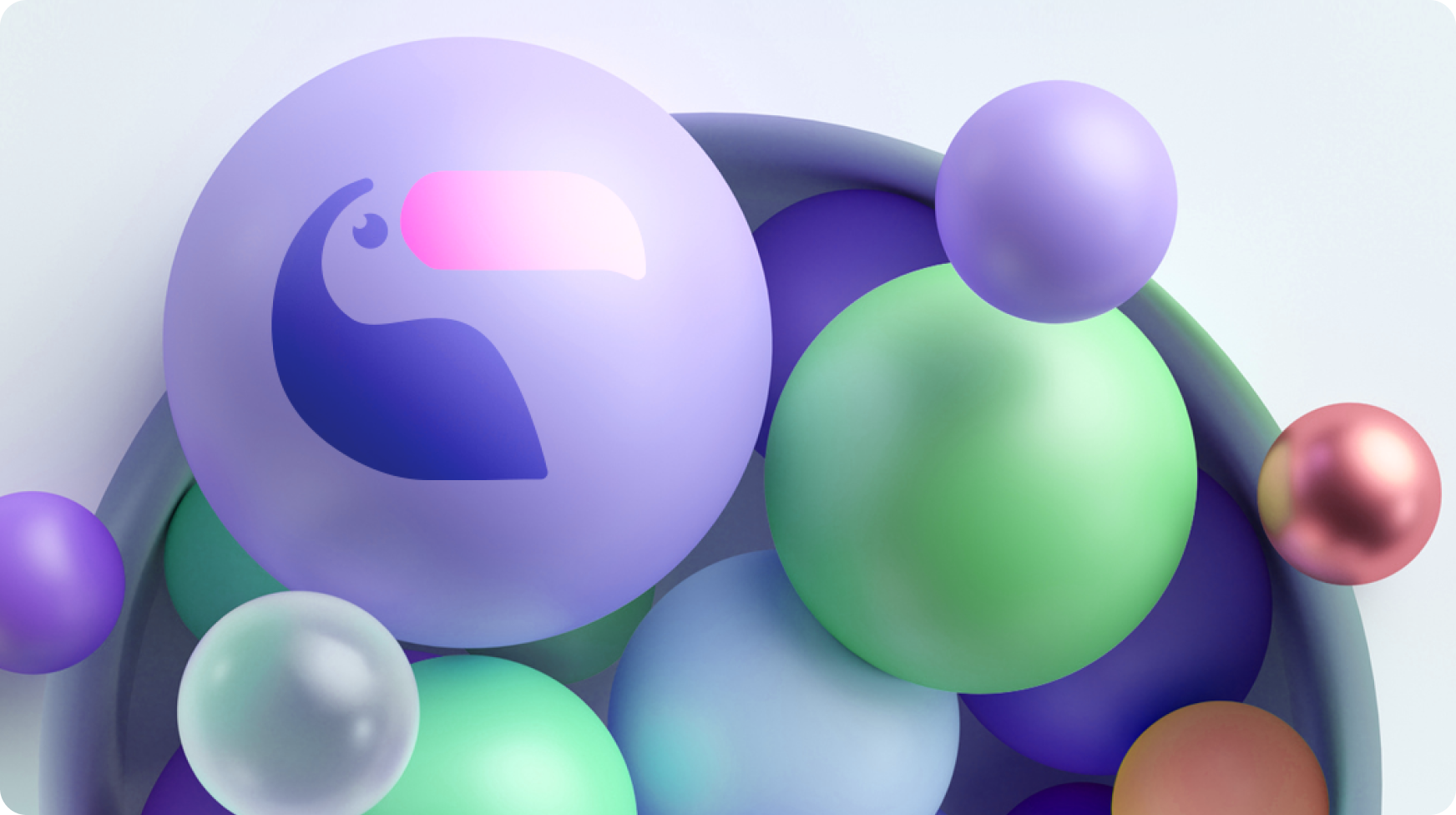 Colourful bubbles with Toucan logo