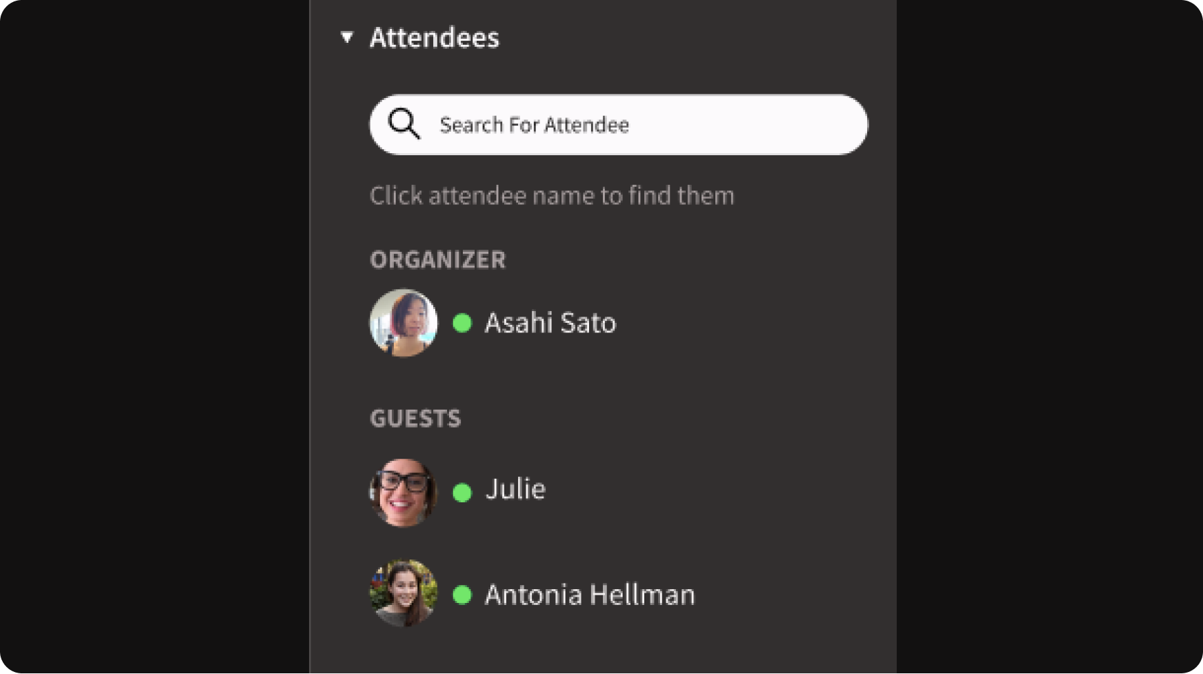Event attendee list feature on Toucan