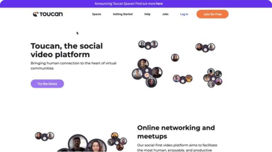 Toucan website homepage
