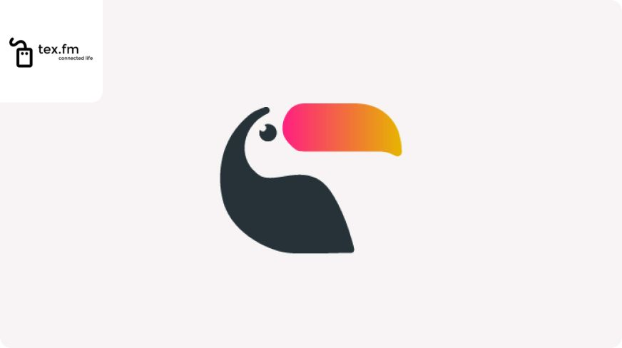 Toucan logo with Tex.fm logo