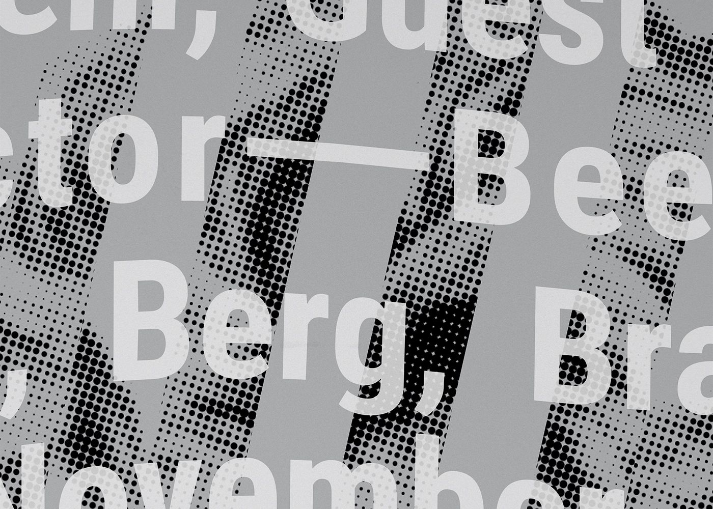 Detail of poster for Three Viennese Bees: collaged images of Beethoven, Berg, and Brahms on a gray background, overlaid with wavy white typography.