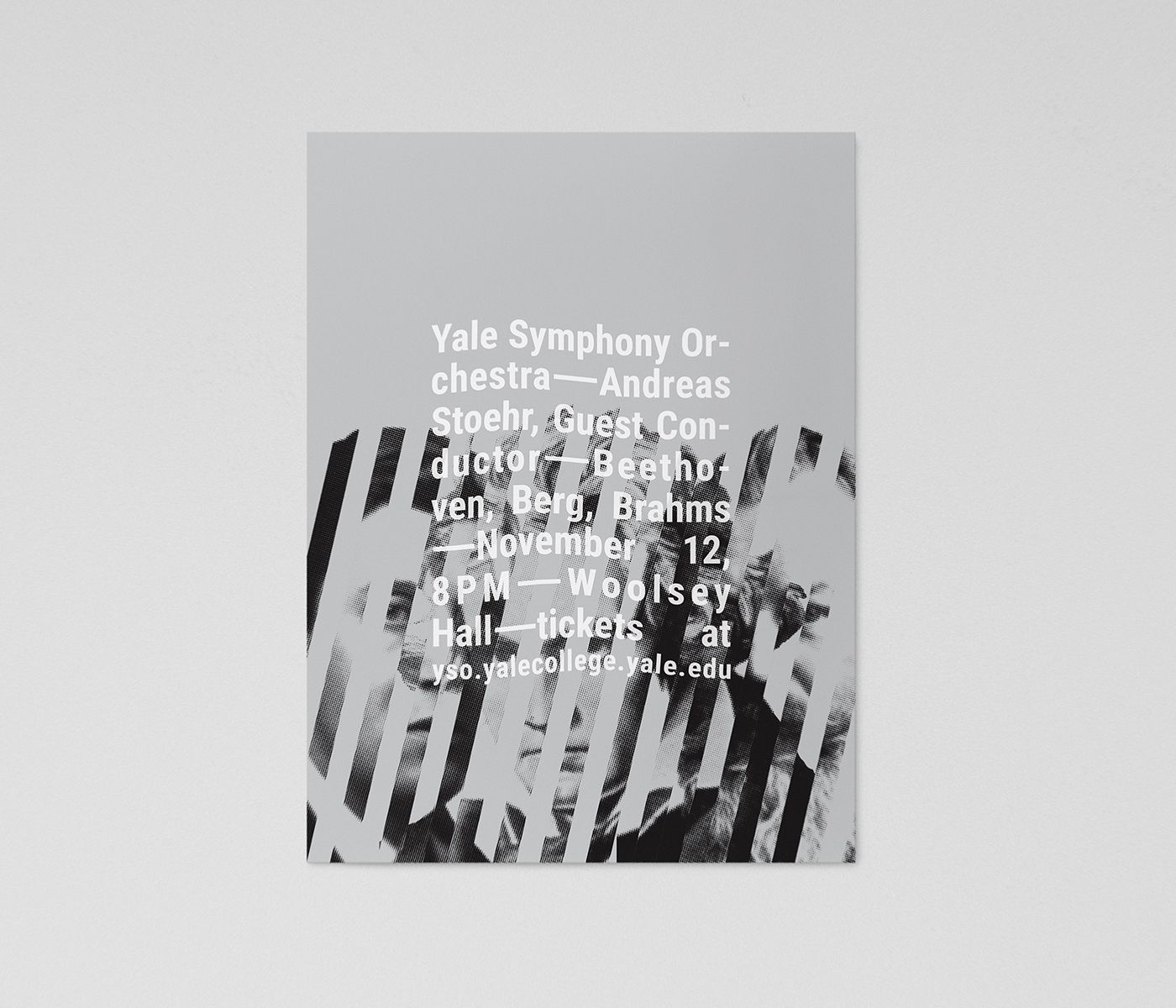 Minimalist modern poster design for The Yale Symphony Orchestra's concert Three Viennese Bees: collaged images of Beethoven, Berg, and Brahms on a gray background, overlaid with wavy white typography.
