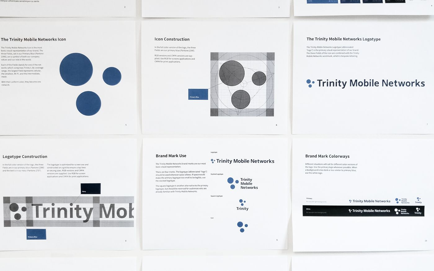 Pages from the Trinity Mobile Networks brand guidelines