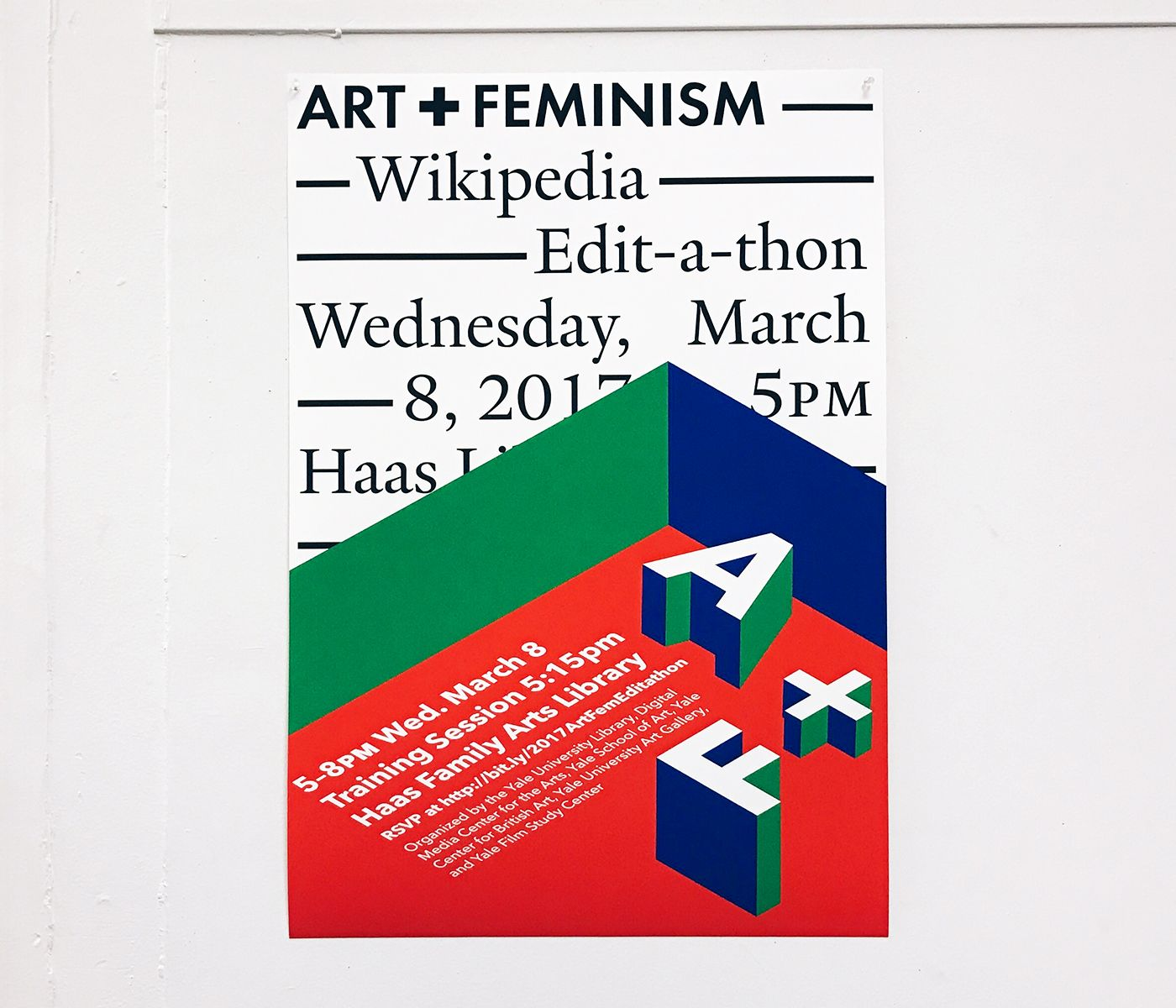 Poster for the Haas Family Arts Library Art+Feminism Wikipedia Edit-a-thon, Yale University