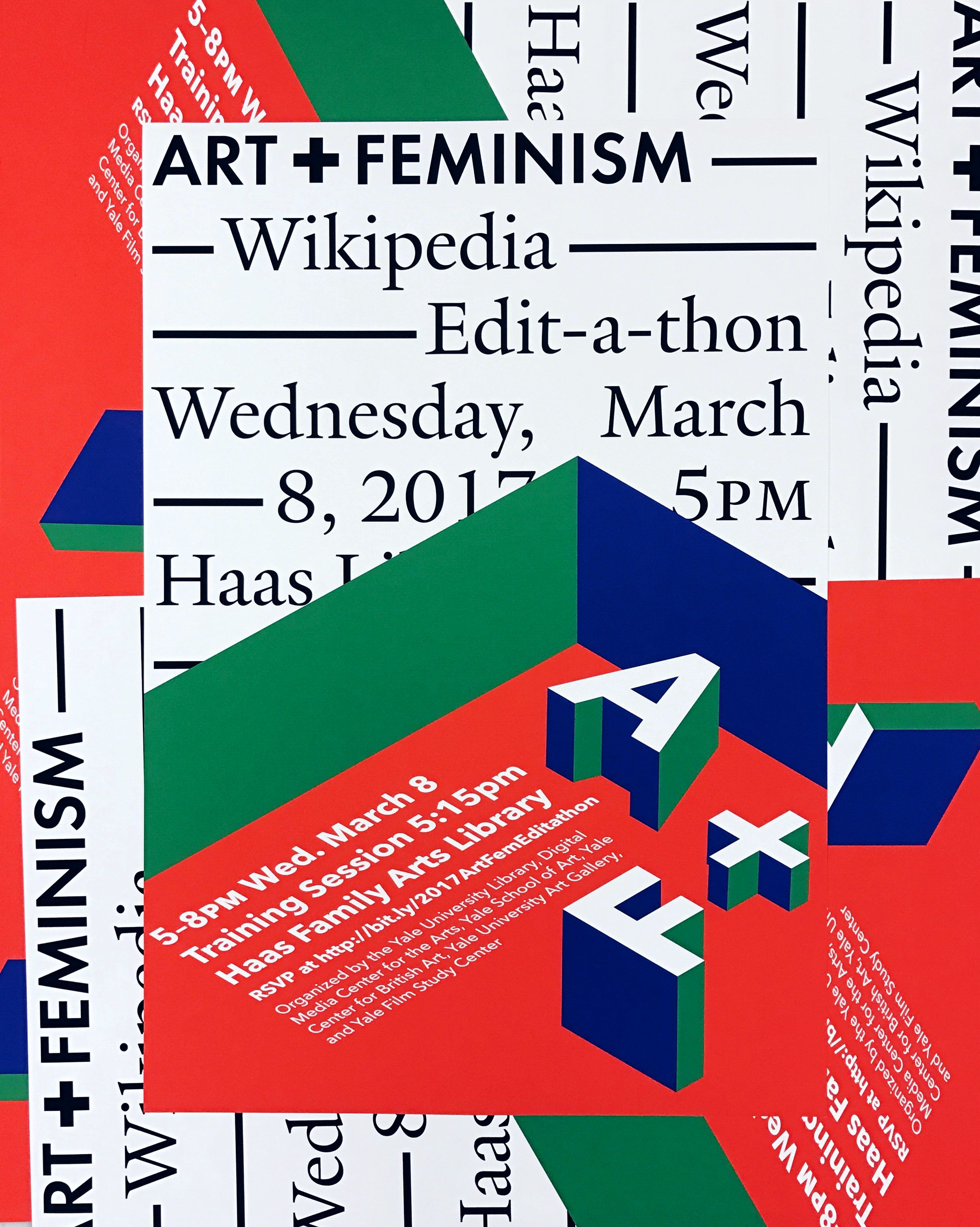 Posters for the Haas Family Arts Library Art+Feminism Wikipedia Edit-a-thon, Yale University
