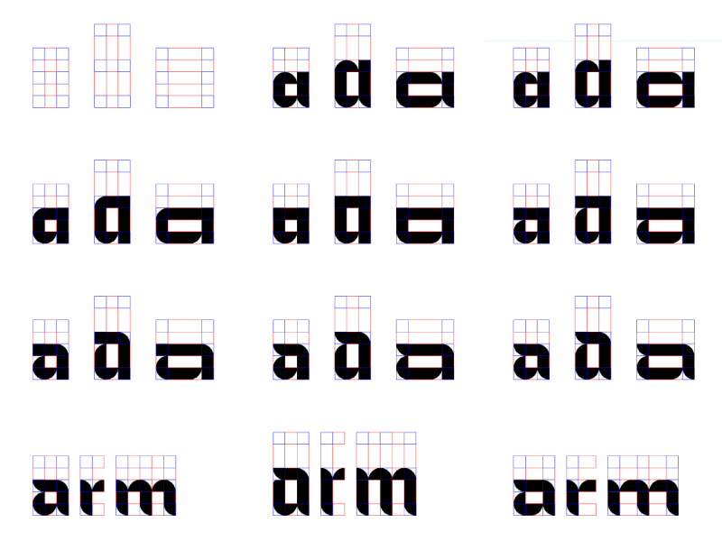 A study for the variable typeface: the letter a and the word arm in various styles, stretched wide and tall to show the flexibility of the font.