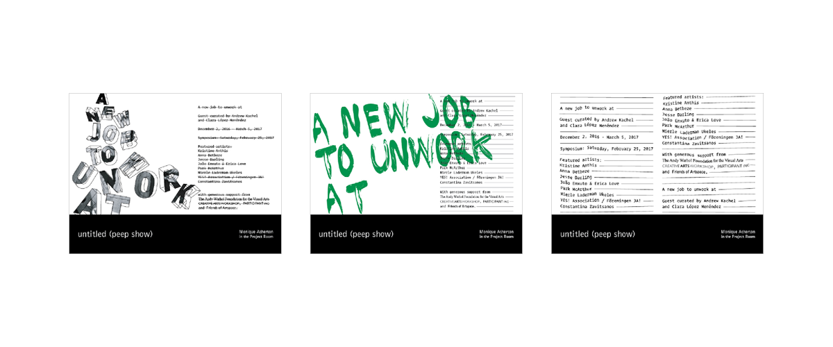 Three sketches for the gallery wall. The first shows large 3D letters tumbling down the page. The second, green text painted in rough brushstrokes. The third, distorted lines of small typewriter-esque writing.