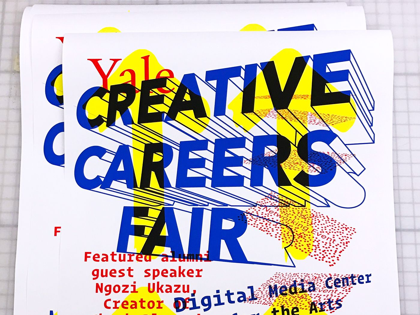 Printout of poster for Yale Creative Careers Fair by Isaac Morrier