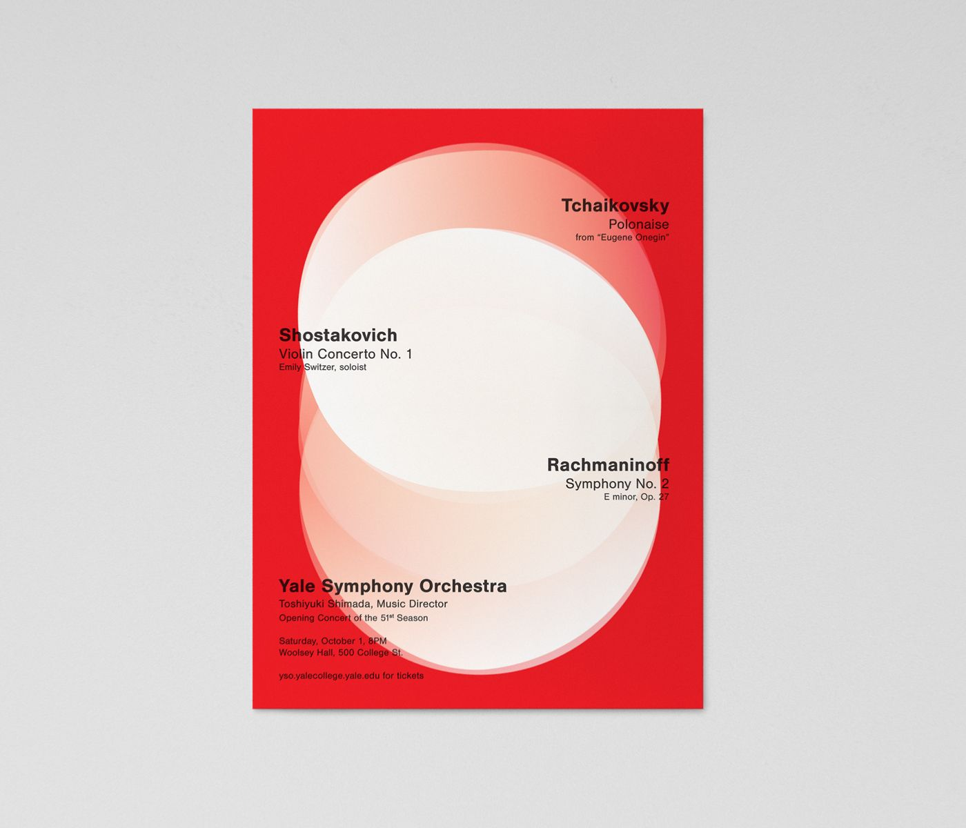 Minimalist Swiss poster design for The Yale Symphony Orchestra's Opening Concert of the 51st Season. Circular white designs overlap and float on a red background. Black text describes the concert: Tchaikovsky, Shostakovich, and Rachmaninoff