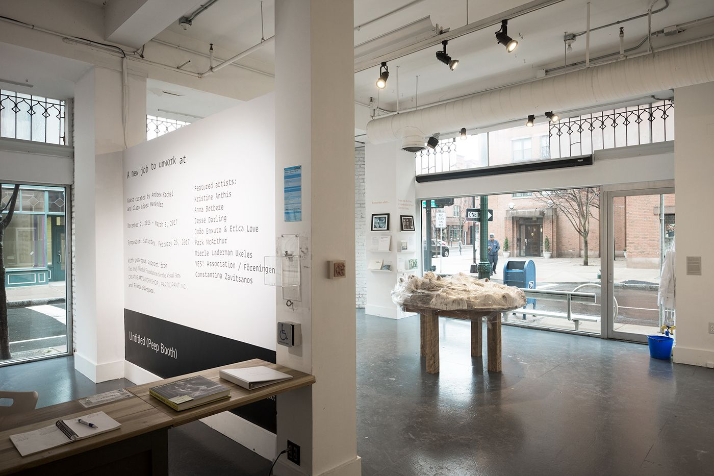 Artspace interior, showing an architectural sculpture on a table and the gallery wall.