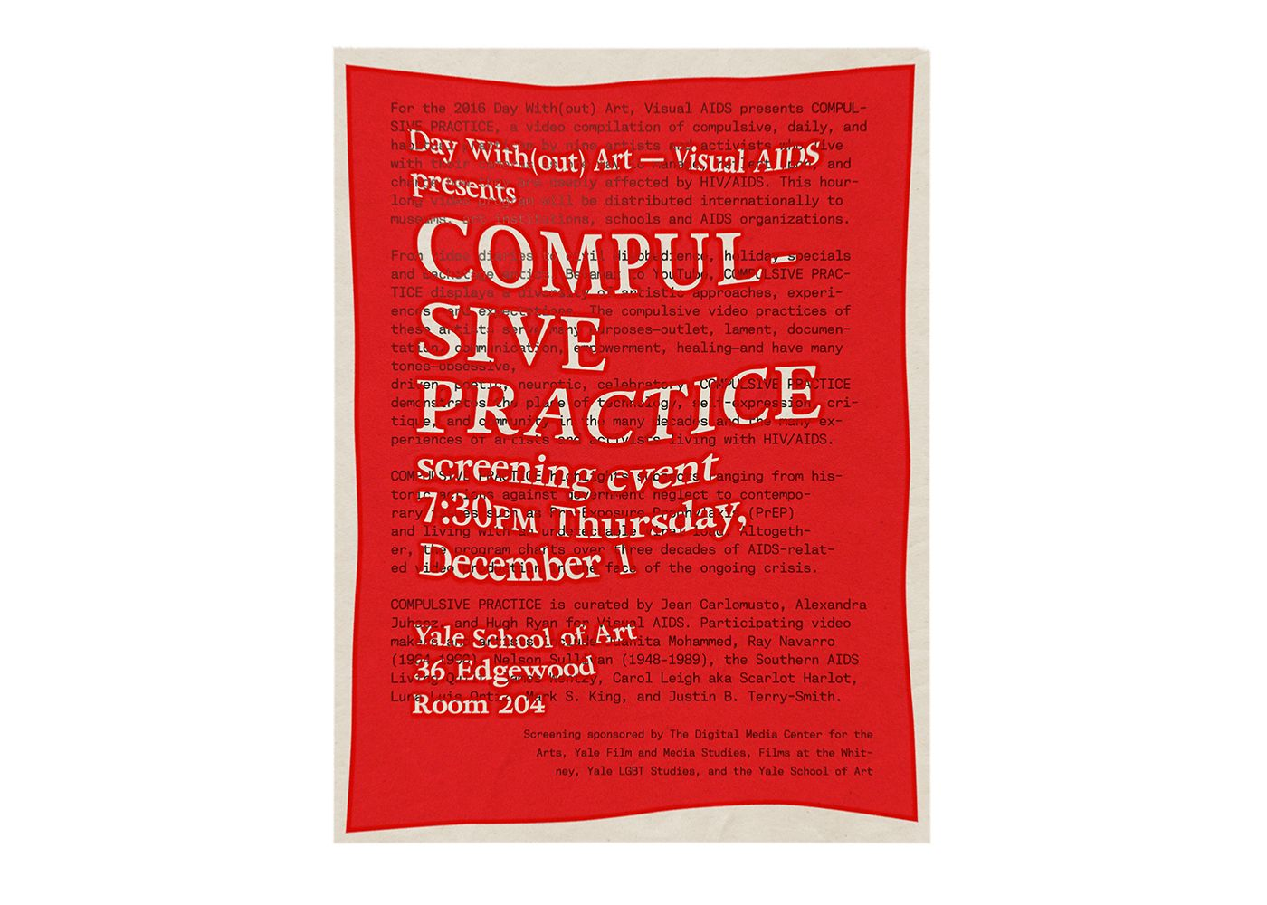 Poster for Compulsive Practice screening event, designed for Yale University Digital Media Center for the Arts