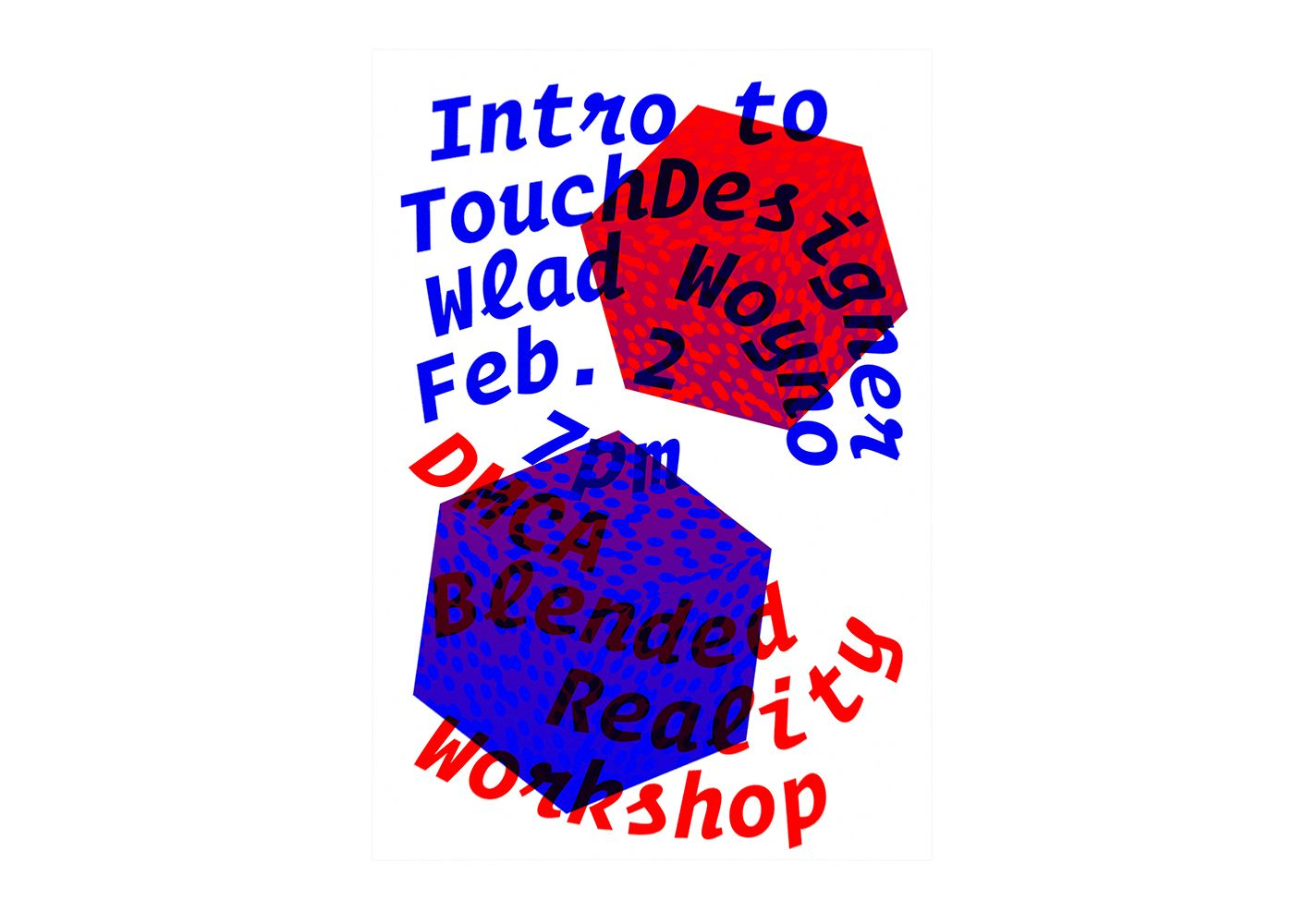 TouchDesigner Workshop poster with red and blue 3D cubes