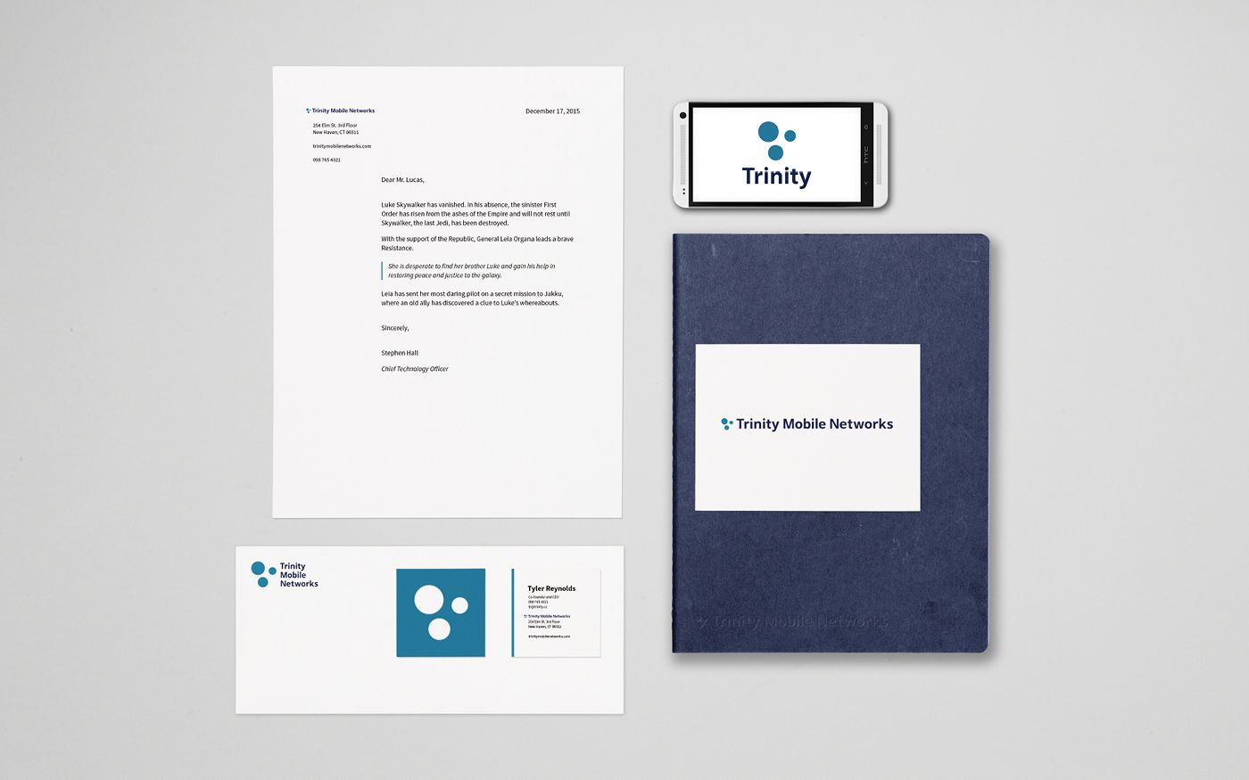 Brand identity mockups: letterhead, envelope, business card,, notebook