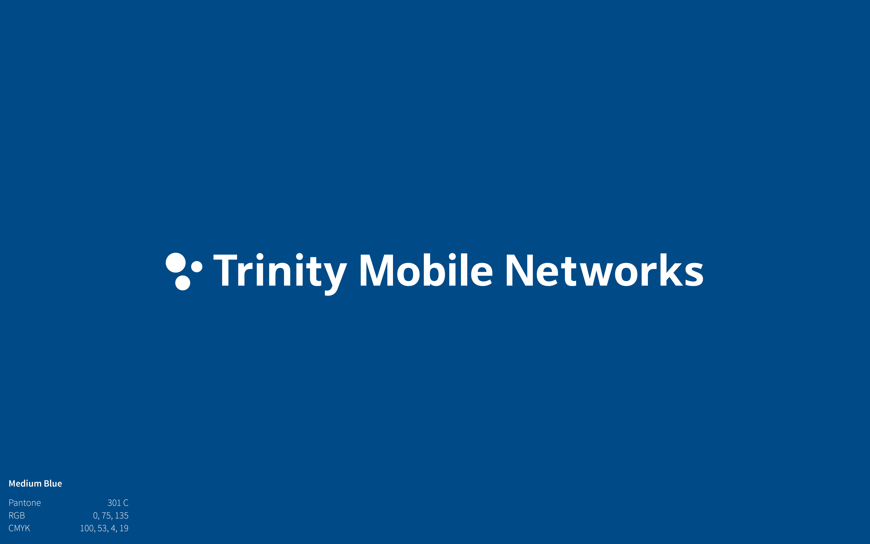 Trinity Mobile Networks Logo on medium blue background
