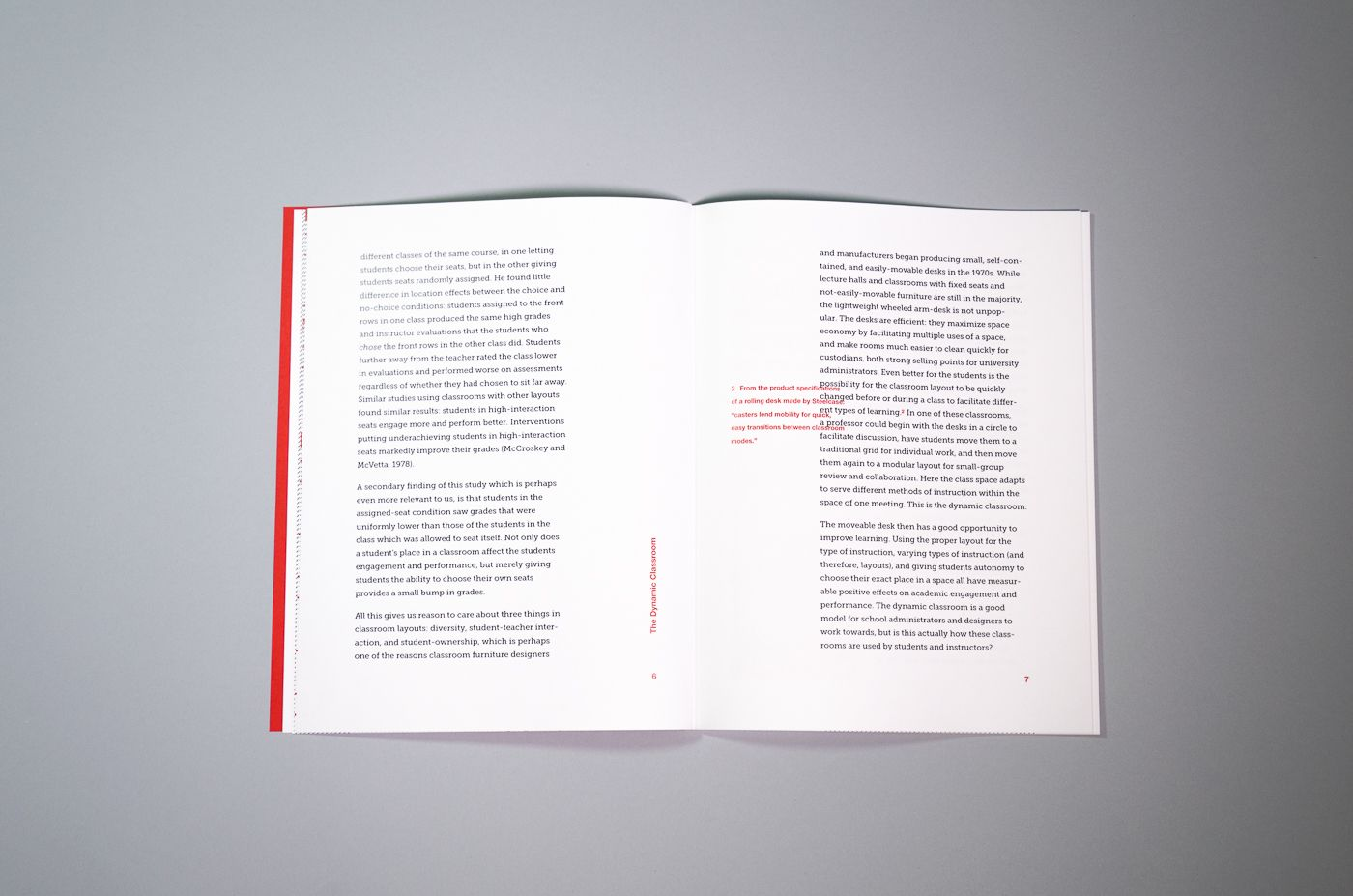A text spread from The Dynamic Classroom. Footnotes are printed in red in the interior margins.