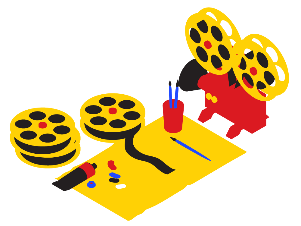 Blue, red, and yellow illustration of a film projector and painter's placemat. Reels of film are stacked next to the mat. On the mat is a span of film, palette of paint, and set of paint brushes.