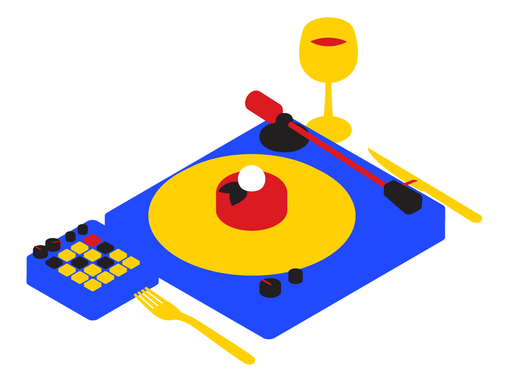 Blue, red, and yellow illustration of a DJ's turntable and electronic controller. On the turntable is a plate with a desert and garnish on top. Next to the turntable are a fork, knife, and glass of wine, arranged like a place setting.