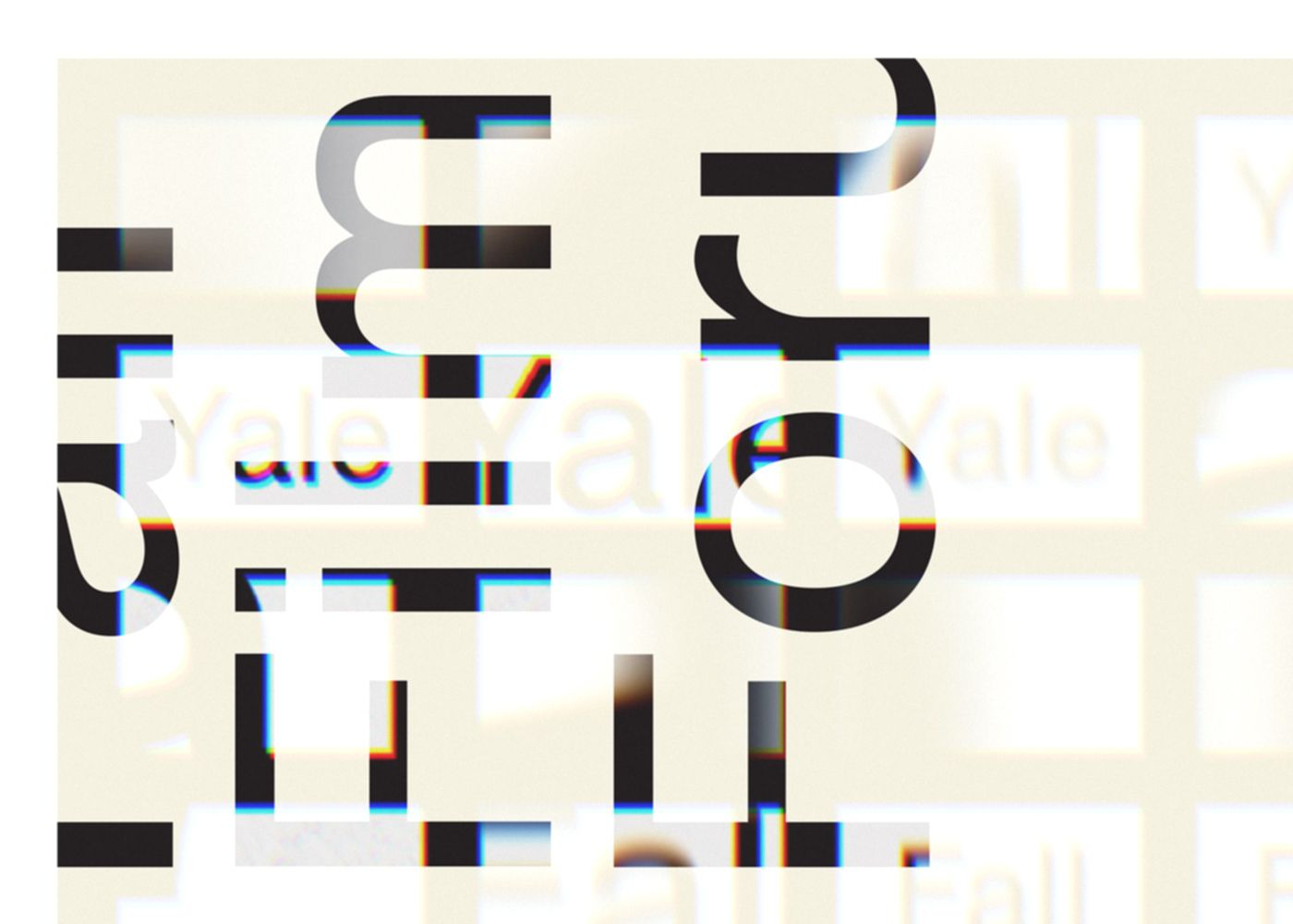 A detail of the Yale Fall Film Forum poster, showing the distorted and projected film frames up close.