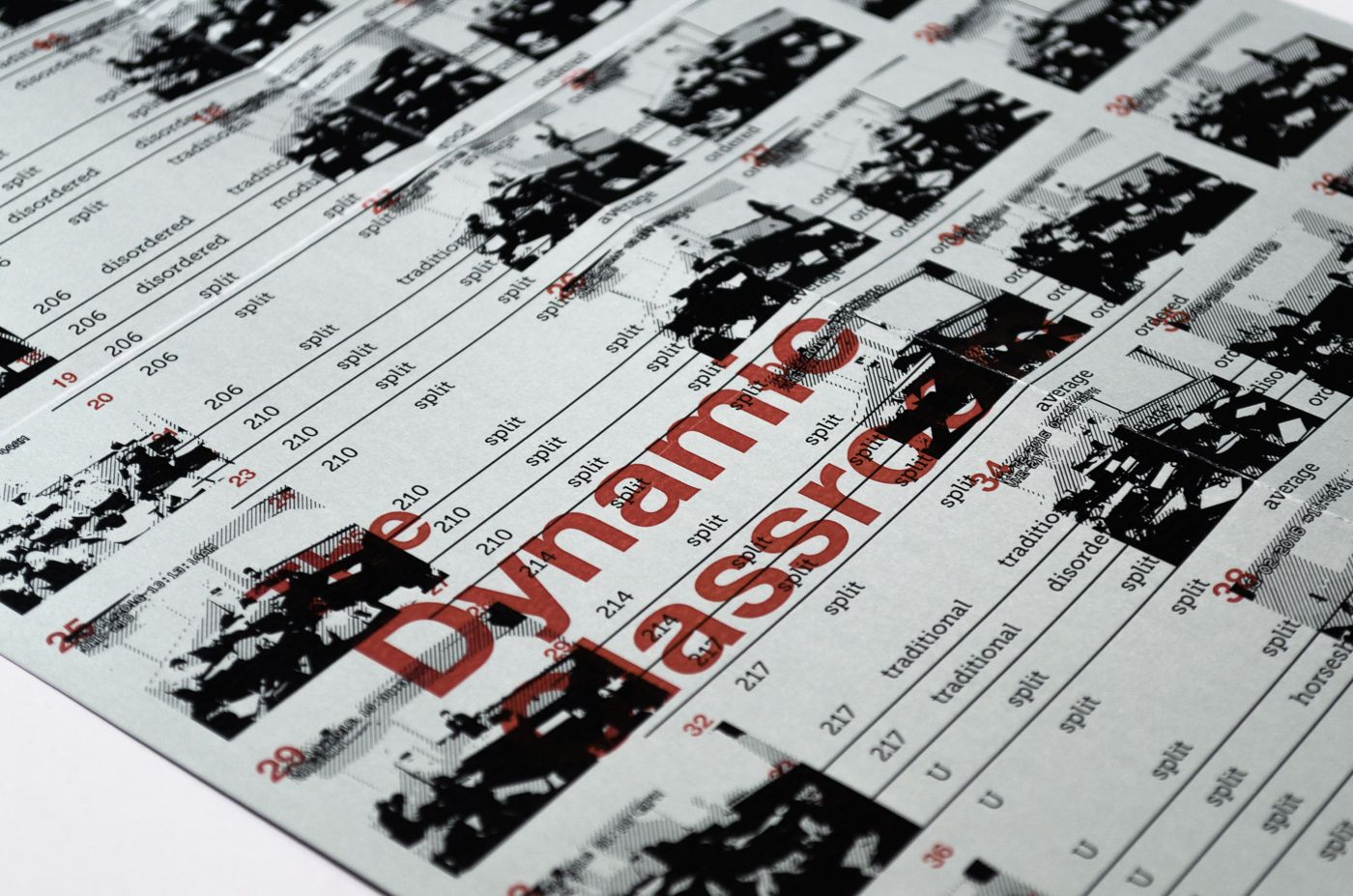 """Detail of The Dynamic Classroom poster design. A grid of black photos of classrooms is printed on silver paper. """"The Dynamic Classroom"""" is overprinted in red ink."""