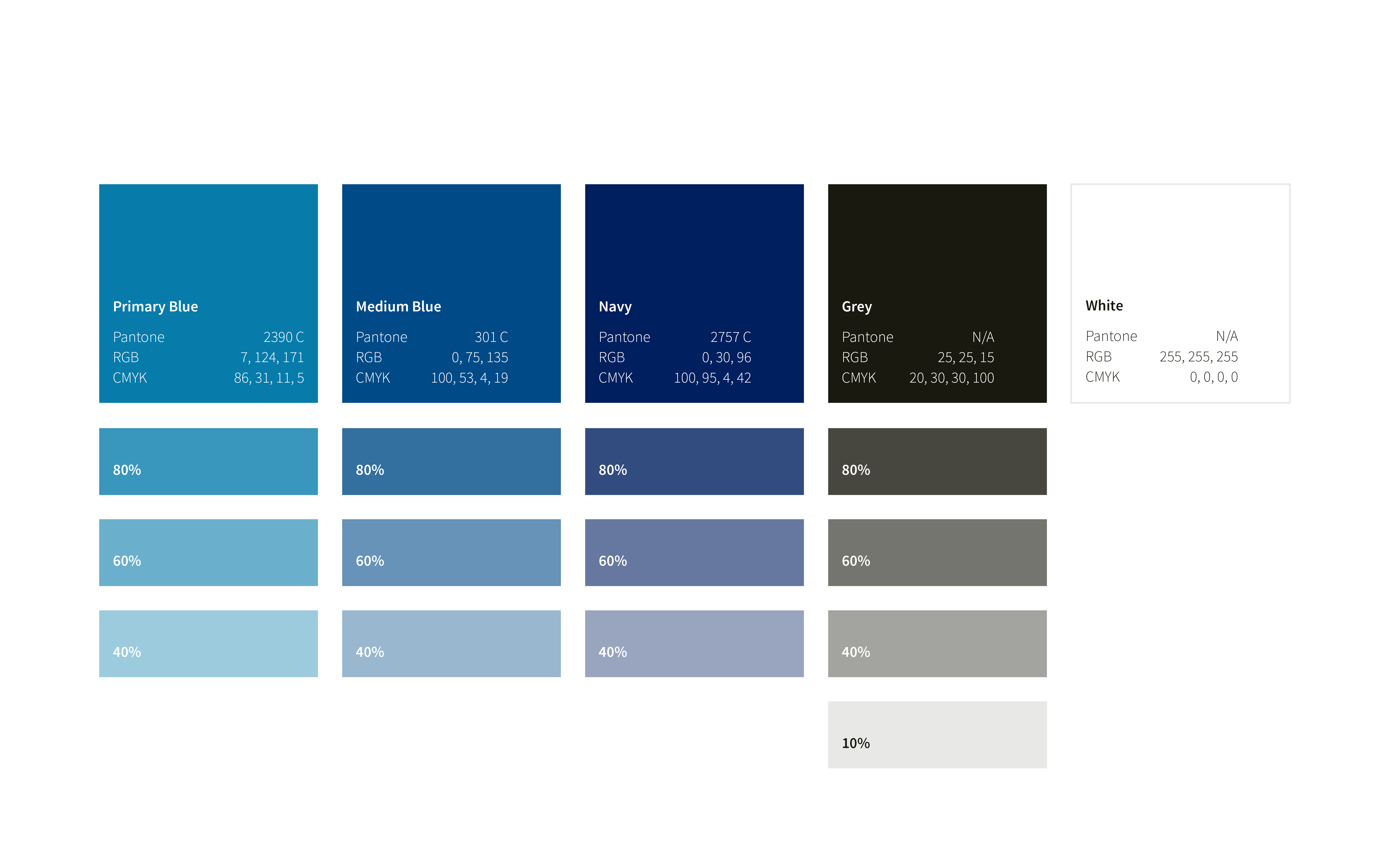 Color palette, from primary blue to grey