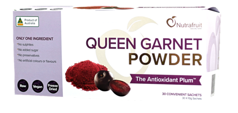 Sachet box of Queen Garnet Australian Plum Powder