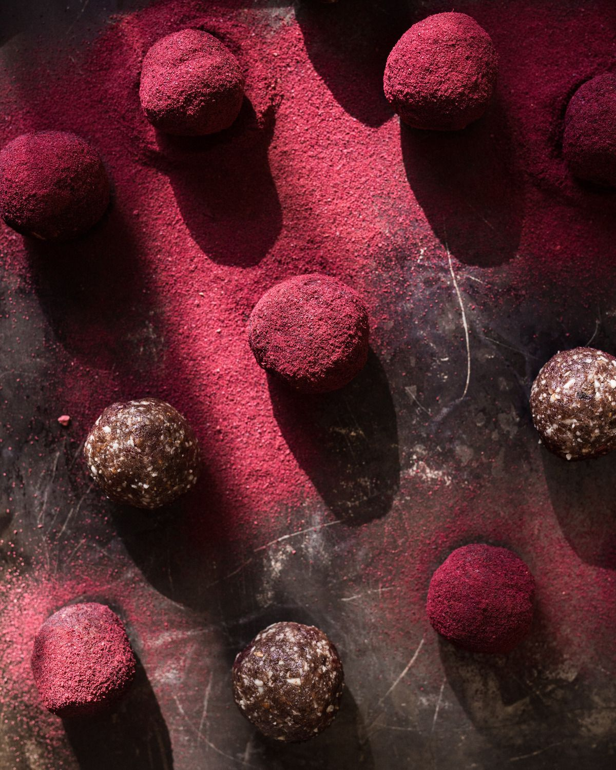 Antioxidant bliss balls covered in Australian Plum Powder