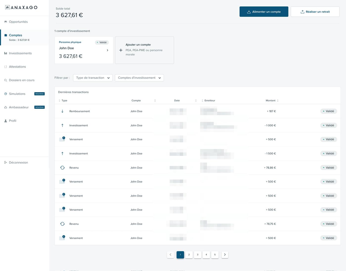Screenshot tableau de bord Comptes
