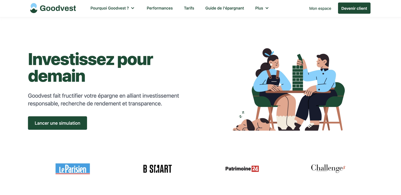 Screenshot site internet Goodvest