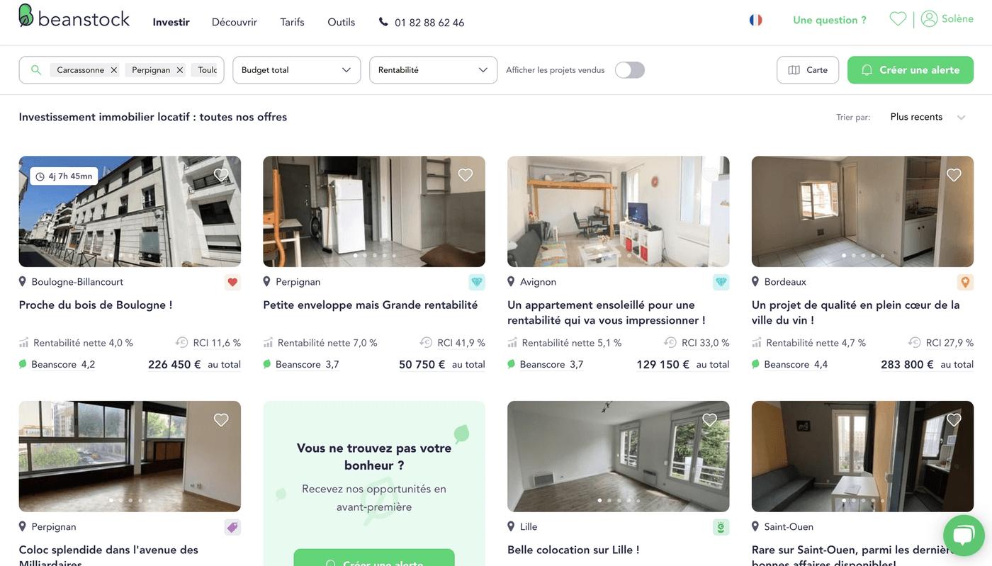 Screenshot onglet Investir site Beanstock