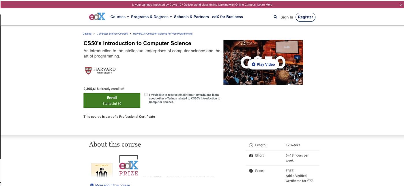 Site internet de CS50 edX