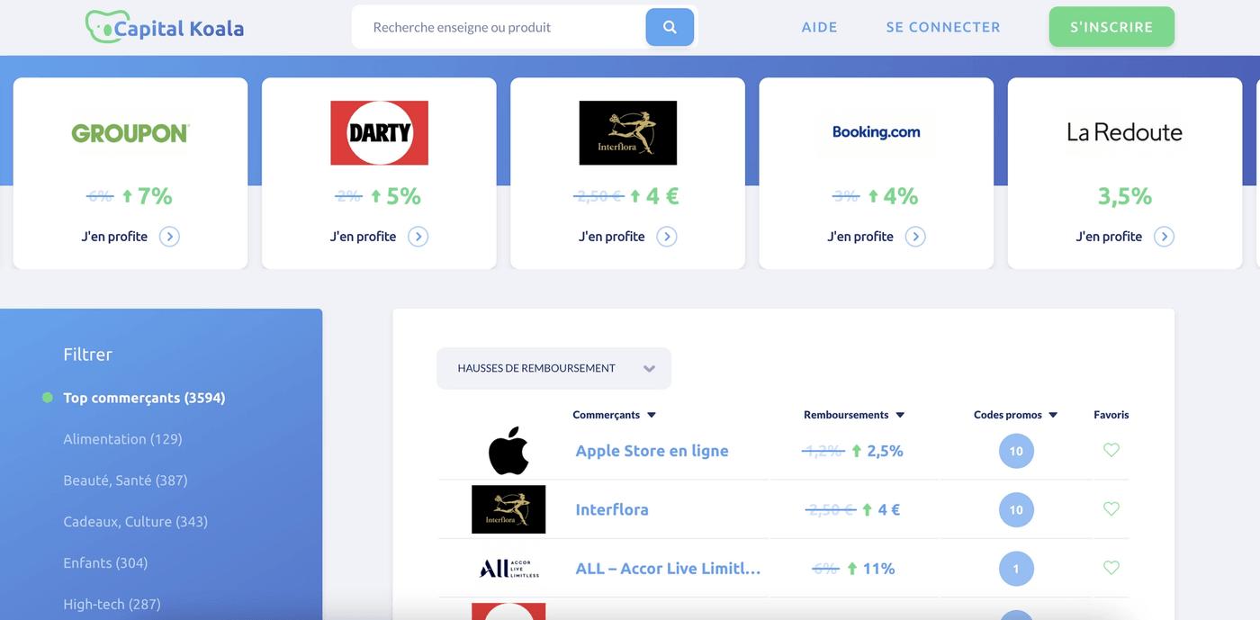 capture d'écran site cashback capital koala