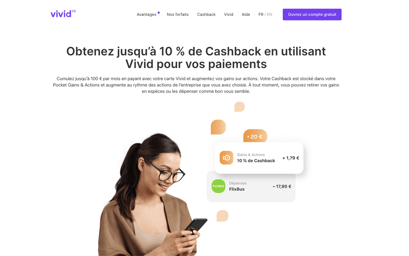 Capture d'écran site internet Vivid Money