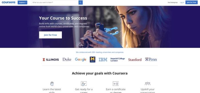 Capture d'écran site Coursera
