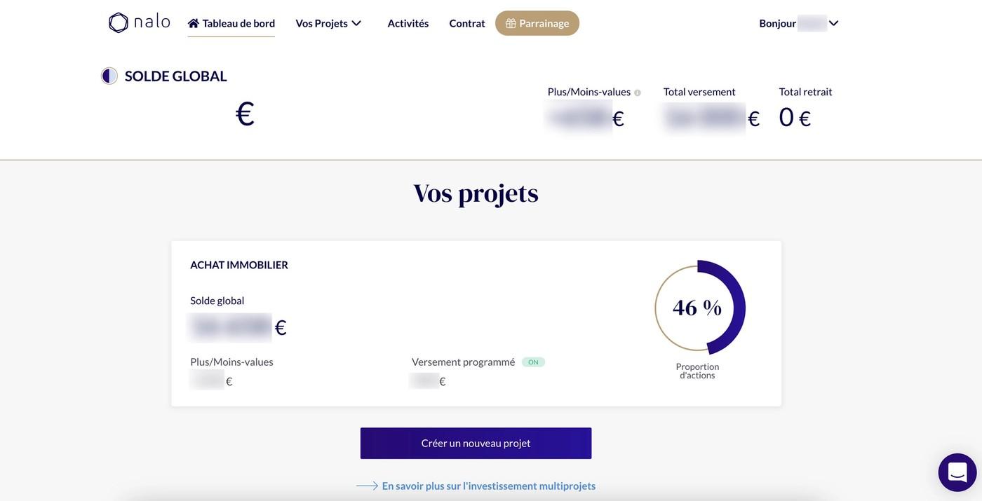 Avis Nalo interface web suivi performances