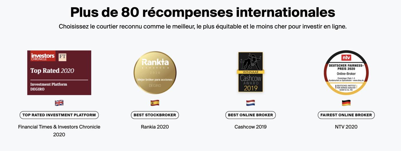Screenshot site DEGIRO récompenses