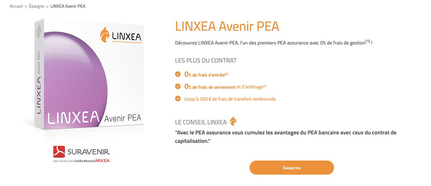 Capture d'écran de la page LINXEA Avenir PEA