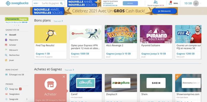 Capture d'écran de la page d'accueil de Swagbucks