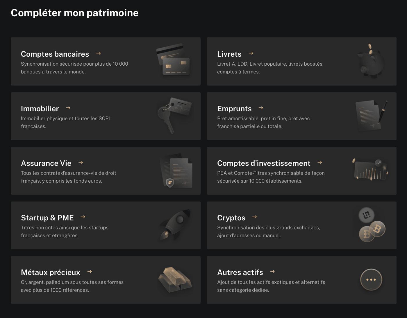 Capture d'écran des comptes possibles d'ajouter sur Finary