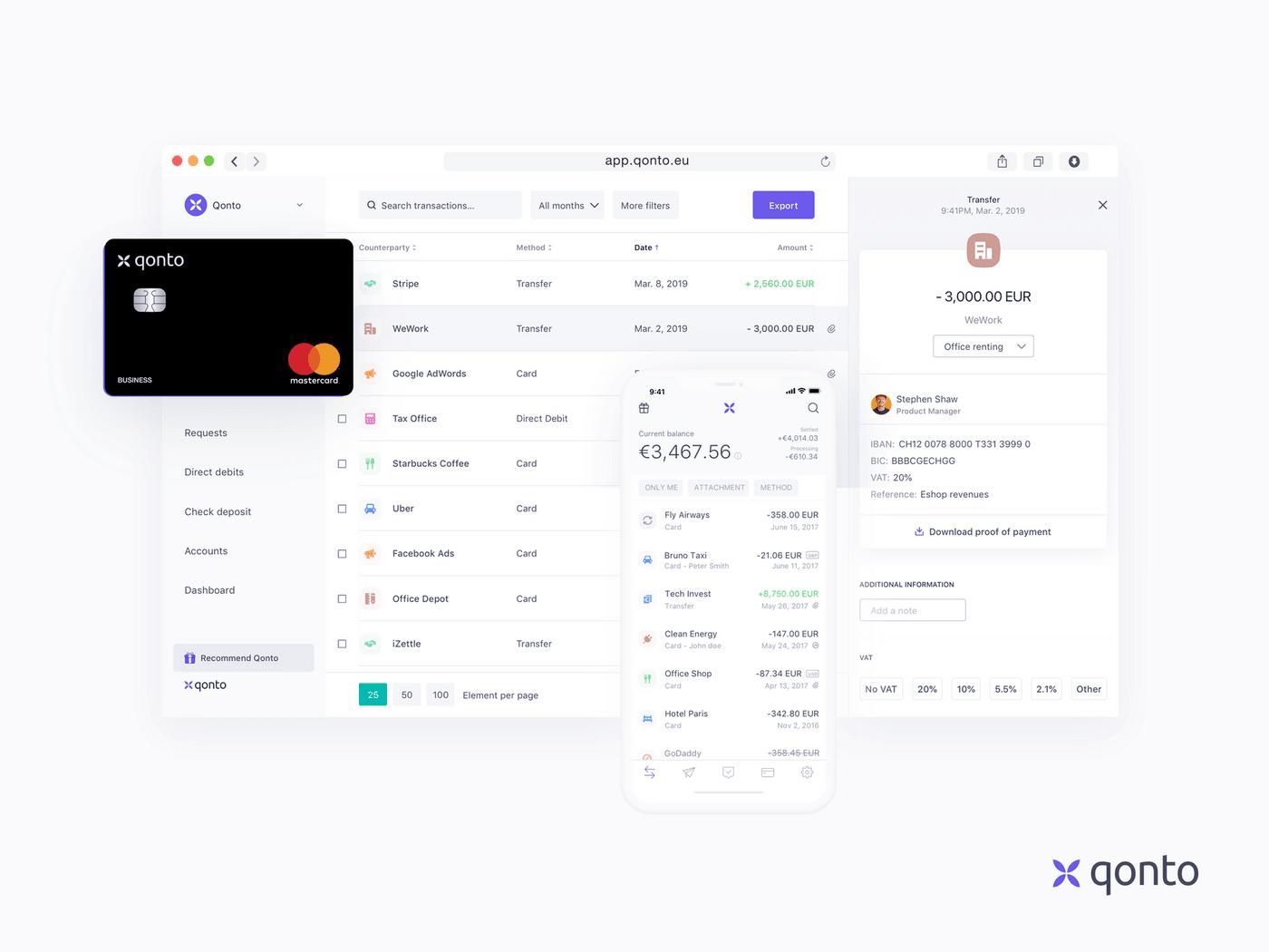 Une capture de la carte bancaire et application Qonto
