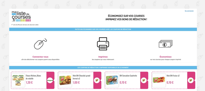 Capture site de coupons de réduction Ma Liste de Courses