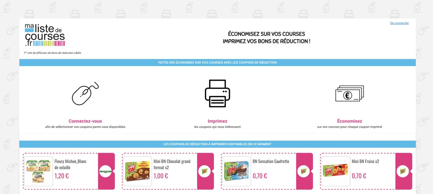 Capture site de coupons de réduction Ma Liste de Courses
