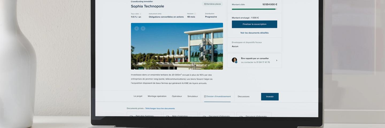 Mockup du site internet d'Anaxago