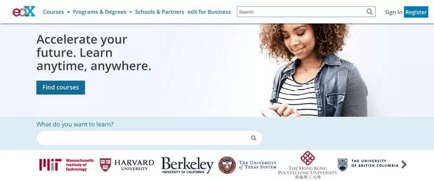 Screenshot plateforme cours en ligne edX