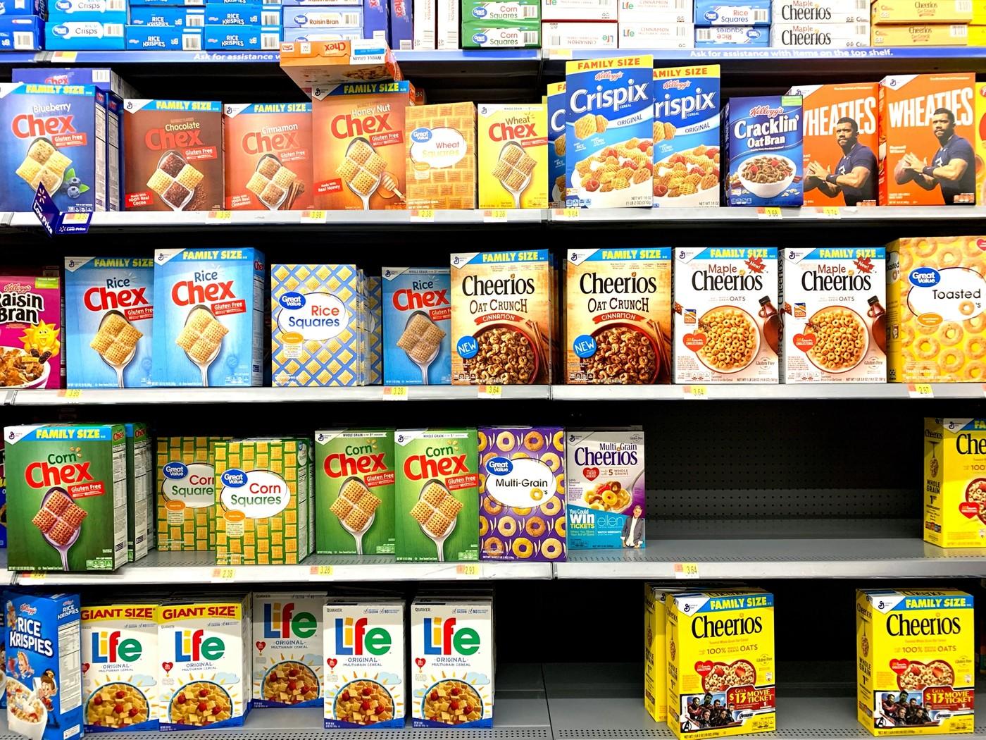 Un rayon céréales au supermarché